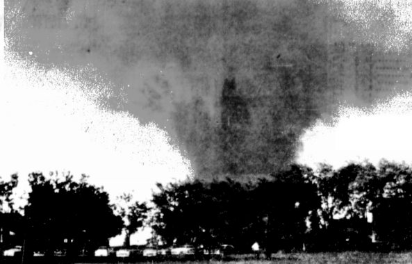 The Temperance tornado was probably near peak intensity as it crossed the shoreline onto Lake Erie. Photo taken looking south from Erie Rd., just south of Luna Pier.