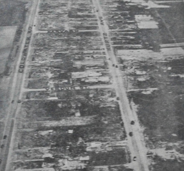 More than two dozen people were killed in the pictured area, spanning from Detroit St. to near Summit St. Every single one of the nearly 40 homes was completely swept clean.