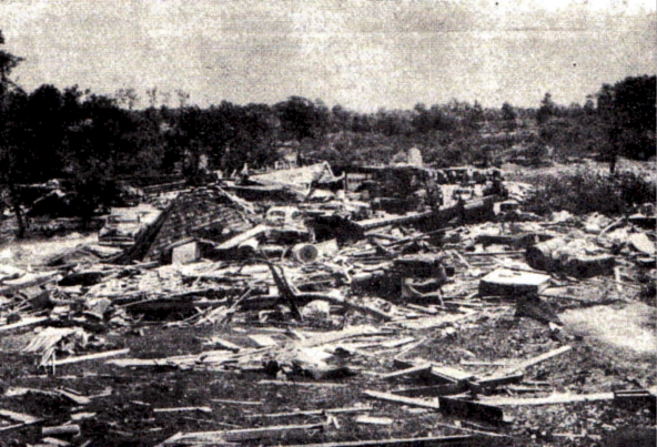 The Davco farm was decimated by the tornado near the end of its path.